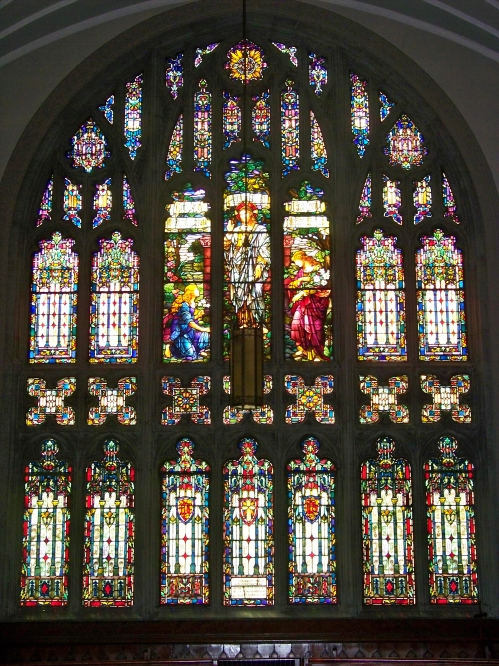 Large stained glass window from the inside