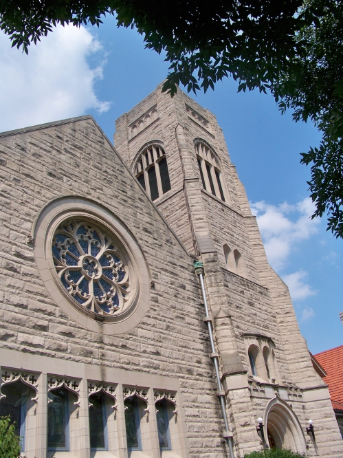 North side of the church (rose window)- Waterman Blvd.