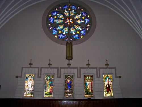 Inside view of north rose window